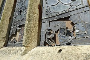 The smashed stained glass windows at Titchfield Church.''Picture: Ian Hargreaves  (150819-4)