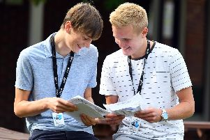 Students from Havant and South Downs College collect their A-level results in what has been an improved performance in Hampshire colleges and schools.