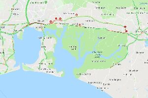 A Google Traffic picture shows the closure between Emsworth and Chichester.