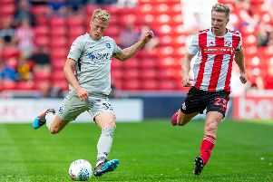 Makeshift right-back Ross McCrorie delivers a cross into the Sunderland box during Saturday's impressive cameo. Picture: Malcolm Mackenzie