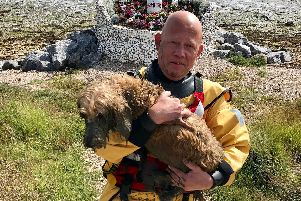 Hillhead Coastguard Rescue Team after rescuing the dog