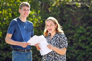 Sam Predeth (16) from Cowplain with Katie Boxall (16) from Waterlooville celebrate their good results. Picture: Malcolm Wells (190822-6349)