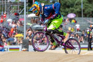 Lucy Simpson competing in a BMX competition