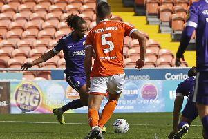 Marcus Harness is about to put Pompey into the lead at Blackpool / Picture by Paul Thompson