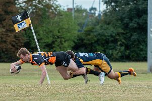 Tom Hopkins scores a try. Picture: Vernon Nash