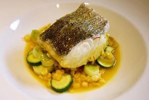 Hake with sweetcorn and courgette broth by Lawrence Murphy