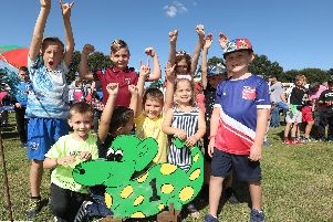 Winners of their dinosaur race. Dinosaur Derby organised by Denmead Scouts at Kidmore Lane, Denmead. Picture by Chris Moorhouse (080919-42)