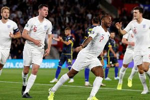 Raheem Sterling scored in England's 5-3 victory over Kosovo at St Mary's last night. Picture: ADRIAN DENNIS/AFP/Getty Images