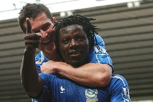 Benjani Mwaruwari celebrates his equaliser at Derby in August 2007 - and a trademark celebration was born. Picture: PA Wire/PA Photos