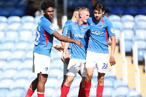 Portsmouth's Ellis Harrison scores his second goal of the match