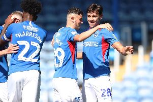 Josh Flint, right, celebrates his goal against Norwich under-21s with Leon Maloney