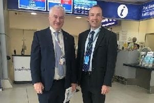 Councillor Gerald Vernon-Jackson, left, pictured with transport minister Chris Heaton-Harris at Portsmouth International Ferry Port. Photo: Portsmouth City Council.