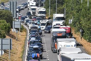 A broken down car is causing traffic congestion on the M27.
