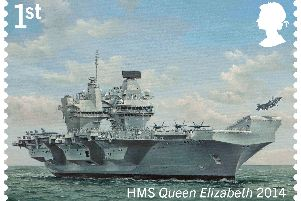 Royal Mail undated handout photo of one of their set of eight stamps commemorating Royal Navy ships from 500 years of maritime history.  Pictured is HMS Queen Elizabeth Photo: Royal Mail/PA Wire