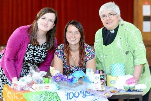 From left, Ellen Mould, Kirsty Davies and the priest in charge Karina Green.'Picture: Sarah Standing (170919-7650)
