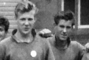 Bobby Moffat, right, along with Vince Radcliffe in their Pompey playing days.
