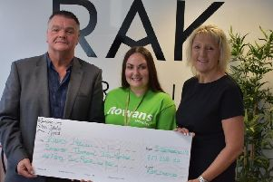 From left, RAK managing director Alvin Biggs, Rowans Hospice corporate engagement lead Gemma Carden and RAK general manager Heather Farnden