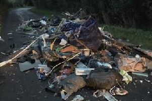 Rubbish flytipped on Pigeon House Lane in Southwick