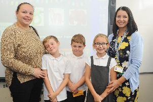 Left to right, Hannah Holwill with her son Frankie Clarke, 8, Archie Heither 8, Emmie Phillimore, 8, and her mum Laura.''Picture: Sarah Standing