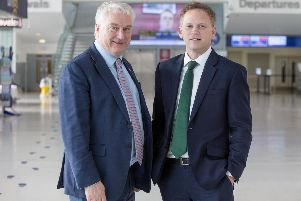 Portsmouth City Council leader, councillor Gerald Vernon-Jackson, with transport secretary Grant Shapps at the Portsmouth International Port. Picture: Habibur Rahman