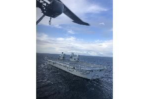HMS Prince of Wales as seen from a Merlin helicopter during her sea trials 'Picture: Royal Navy