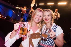 Portsvaria Oktoberfest 2019 - Pyramids Plaza  transport you to Bavaria serving up German inspired beer, food with live music - (L-R) Emily Hector and Rikki Scott'Picture: Duncan Shepherd