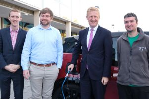 """Minister for the Cabinet Office, Oliver Dowden, travelled to Milton Keynes in an electric car to praise the city's """"impressive facilities for electric car owners"""""""