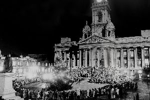 The scene in the Guildhall Square where hundreds of Portsmouth schoolchildren enjoyed their annual carol service in December 1983.