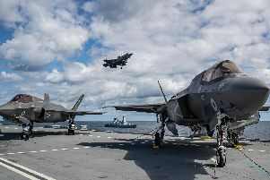 F-35s on the deck of HMS Queen Elizabeth. Photo: MoD