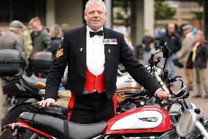 Former soldier Rory Olney did the ride in his mess uniform. Distinguished Gentlemens Ride on vintage motorcycles, Guildhall Square, Portsmouth. Picture: Chris Moorhouse  (290919-39)