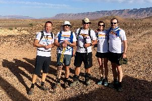 Team True Colours, who took on the Saharan Challenge of walking two desert marathons in two days, consisted of (left to right) Patrick McCall, Jeremy Grant, Adrian Faure, Louise Carver and Alistair Gibson