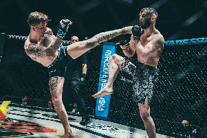 Kye Stevens on his way to winning the amateur welterweight title at Shock N Awe 29. Picture: Mat Rydzik/ Shock N Awe