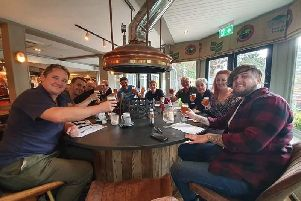 Veterans and current armed forces personnel taking part in Brewhouse and Kitchen Southsea's Veterans Day Brew.