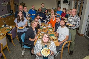 17/10/19  ''Rowans Hospice hosting a pasta supper for all participants running at the Hospice in Waterlooville.''Pictured: Rowan runners with their plates of pasta.''Picture: Habibur Rahman