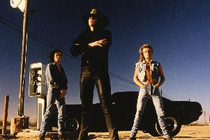 The Cult in 1989. From left: Jamie Stewart, Ian AStbury, Billy Duffy. Picture by Andrew MacPherson