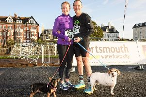 Hayley Newell with Min the dog and Cristian Lopez with Smudge the three legged Jack Russell.''Picture: Keith Woodland