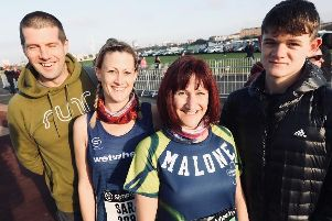L-r, Nick MacBeath, Sarah Moulding, Annie Malone and her son Connor Malone, 16, all local