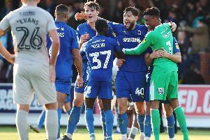 Gareth Evans watches AFC Wimbledon celebrate becoming the latest club to inflict defeat on Pompey during a mediocre 2019. Picture: Joe Pepler
