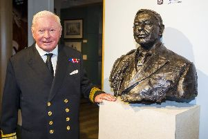 Sir Donald Gosling stands beside a bust of himself which was unveiled by HRH the Princess Roya at the National Museum of the Royal Navy in Portsmouth in June, 2014. Photo: Christopher Ison/NMRN
