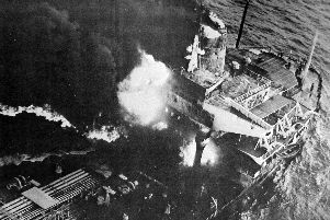 Pacific Glory engulfed in flames, 1970.
