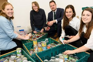Trussell Trust food bank opened at St Georges, Portsea, with Stephen Morgan MP attending - from left, Beckie Denny, Wendy Satherley, Stephen Morgan MP,  Lizzie Welfare,  Emma Taylor'Picture: Duncan Shepherd