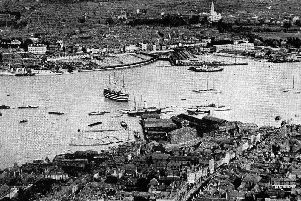 A superb aerial view of Gosport looking across Portsmouth Harbour to Portsea. Picture: Mick Cooper postcard collection.