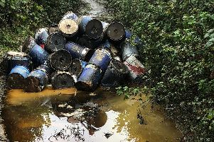A member of the public discovered 173 containers leaking chemicals in a country lane in Waterlooville.