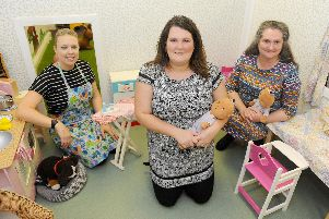 (l-r) Sarah Henderson, play assistant, with owners of Sweet Peas Claire White and Pamela Lawrence. Picture: Sarah Standing (011119-983)