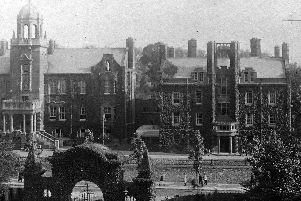 Ivy covered Ward Room, Queen Street, Portsmouth. Taken from the RN Barracks, HMS Victory (now HMS Nelson) we are looking across the top of the main gate toward the Ward Room. Picture: Mick Cooper collection.
