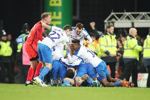 Pompey celebrate the FA Cup third round win at Norwich last season