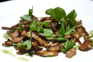 Fried mushrooms with watercress by Lawrence Murphy