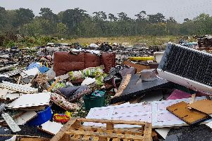 A site off Hulbert Road, in Havant, which was used as a fly-tip by several firms acting illegally in 2018. Picture: Tom Cotterill