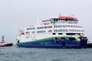 The Isle of Wight ferry, Victoria of Wight approaches Portsmouth Harbour.
