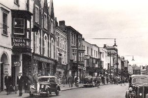 A marvellous view along Gosport High Street with the India Arms pub on the left.  Photo: Mick Cooper collection.